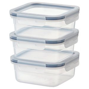 Pack of 3 - Food container, square, plastic, 25 oz